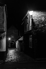 Late walk on Quay Lane in Sandwich. (Jean Latteur) Tags: sandwich kent quay cobbled street historic building night nikon arch fisher lane 35mm f18 d3300
