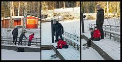 Exploring frozen pond sluice (atranswe) Tags: dsc301483 dsc301784 dsc301885 sweden sverige västernorrland ångermanland väja lat63lon18 nature vinter winter damm pond barnbarn grandchildren son snö snow is ice atranswe