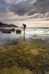 Patience (Rodney Campbell) Tags: coalcliff seaweed ocean reflection water cpl sunrise sky gnd09 rocks clouds newsouthwales australia au