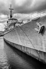 The Last Survivor (ShrubMonkey (Julian Heritage)) Tags: destroyer ww2 wwii ship warship boat dock chathamhistoricdockyard prow bow nautical machine hmscavalier d73 berth museum kent mono bw sonyalpha cclass