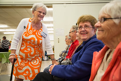 Yvonne Fox, volunteer and member of St. David's United Church Women's Group, entertains guests. (photo: Steve Wadden)