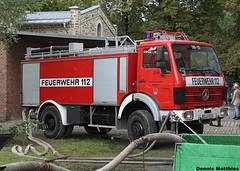 Old Mercedes fire truck (Schwanzus_Longus) Tags: auto red man truck germany mercedes benz outdoor equipment german vehicle ladder feuerwehr department osnabrck insurance dept fahrzeug unused deutz laster