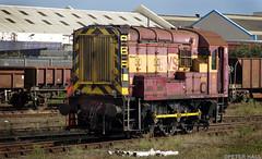 Class 08 (peterphotographic) Tags: uk red england station yellow train canon diesel britain rail railway hampshire locomotive freight battered eastleigh shunter ews g15 class08 peterhall img4889edwm
