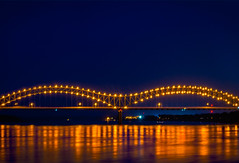 Memphis M Bridge at night (CarmenSisson) Tags: bridge usa water night reflections river twilight dusk memphis tennessee south mississippiriver afterdark hernandodesotobridge mbridge througharch mightmississippi