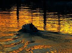 Reflets (KerKaya) Tags: sunset seascape reflection lumix golden boat waves panasonic kerkaya