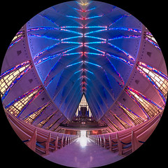 The Chapel pt 1 (damneardone) Tags: blue building geometric church monument composite architecture nikon colorado purple geometry interior tripod stainedglass landmark fisheye tokina coloradosprings usaf modernistarchitecture cadetchapel unitedstatesairforceacademy d7100 tokina1116mm