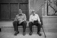 Two Friends (piper969) Tags: old portrait people bw men sitting iran seat bn sit seated ritratto uomini qazvin vecchi