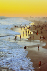 A Beaching Day (VGPhotoz) Tags: california people beach water landscape dawn nikon waves play waterfront dusk walk nikkor huntingtonbeach jog hag vgphotoz
