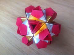 New Model (Martin's Origami) Tags: red beautiful silver gold origami martin modular andersen kusudama sejer