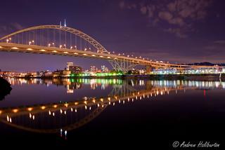 Fremont Bridge reflected in the Willamette River Portland Oregon