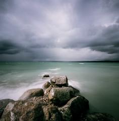 Storm on Lake Michigan (prb1029) Tags: lake storm 120 film square kodak michigan lakemichigan 160nc portra160