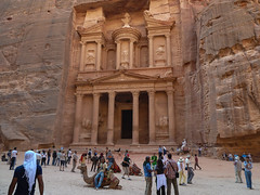 Treasury. Petra (Lena and Igor) Tags: jordan petra treasury palace temple building carved red rocks people square architecture asia middleeast camels panasonic pointandshoot dmc zs7 travel tourism tourists