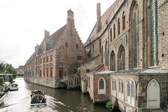 Cruising along St. Michael's Church (Leie River) (Yuri Dedulin) Tags: belgium yuridedulin yuri dedulin europe eu travel romantic culture captivating charming historic ghent bruges day tour beautiful medieval cities river channel attractions centre old town weekend holiday vacation sightseeing architecture waterway nature fun trip sights landmarks magnificent unique quiet cultural monument catholic gothic building outdoor boat reflections castle gray