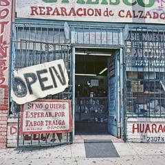 2307 1/2 Open (ADMurr) Tags: 6x6 rollei square la shoes kodak reparacion repair storefront mf eastside portra planar zapatas