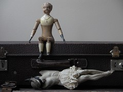 "ALIS_wood ""Joel Ellis doll""_1873. Corpus Christi, 1750 (leaf whispers) Tags: blindfold kink bondage bdsm stilllife joelellis doll wooddoll carvedwood jointed antique nakeddoll nudedoll beautyindecay spiritdoll haunteddoll oldtoy antiquetoy joelellisdoll wooden maker artist light poupée ancienne bois obsolete fetish corpuschristi corpus christi cristi christ jesus crucifix catholic wood santos religion religious catholique cult object mementomori decay fétiche eros erotic xviiiesiècle 18thcentury santo articulated blond blonde erotica drag crossdressing crossdresser humiliation transvestite forcedfeminization travesti féminisationforcée interesting unusual unique buy auction sale folkart joel ellis distressed victorian sacrilegious"