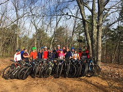 Big group for the #optoutside ride at Black Run. #ridethepines #weavercycleworks #steelisreal #custombicycles
