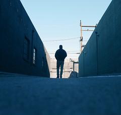 Walking towards the Nightshift (elevatoro) Tags: california street sky me self walking square alley santamonica pedestrian figure 20mm timer selfie 2015 justinleibow elevatoro lumixgm1