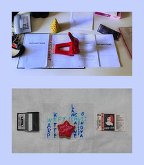 "Shared Working Table Prompter Book ""Lost and Found"" / 8 Days Chanukka: Sufganiyah 7 Winter Star Winterstern Tapestry Diary: Which Tape as Warp? Not this one: He is a friend Tagebuch Tapisserie Auswahl Kette: nicht diese Kassette, er ist ein Freund (hedbavny) Tags: vienna wien blue winter red portrait music rot face table typography austria design office gesicht theater theatre rehearsal diary probe herbst tapis warp portrt collection tape donut letter microphone blau musik backstage telefon tisch schrift tagebuch shared tapestry hanukkah chaine chanukkah arbeitsplatz mappe handwerk lochen mikrofon chanukka hanukka kette vorbereitung ordner schuss weft workingroom kassette tapisserie sammlung graphology handschrift locher aufnahme cruller krapfen aufzeichnung graphologie tonband musikkassette souffleuse dienstzimmer workingchamber textbuch mikroport hedbavny ingridhedbavny grafologie"