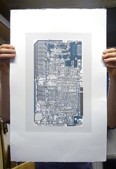 Sinclair ZX Spectrum - Circuit portrait v in midnight (Euphy) Tags: old blue portrait orange art water computer paper print grey screenprint acrylic hand spectrum board fine gray silk machine somerset screen retro 80s silkscreen computing satin pcb 1980s circuit sinclair circuitboard based zx speccy pulled aesthetic fr4