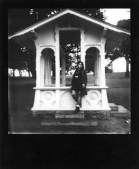 rain cover (a perhaps hand) Tags: sanfrancisco park northerncalifornia daughter gazebo instantcamera sutroheightspark polaroidsx70 polaroidlandcamera instantfilm impossibleproject impossibleprojectbwfilm