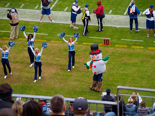 Titans Cheerleaders and T-Rac Snowman