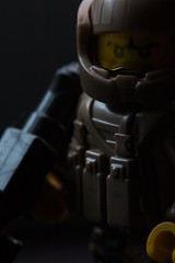Soldier (General JJ) Tags: lego minifigure macro portrait toy photography contrast scifi military soldier brickarms dark shadow