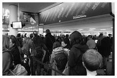 Welcome to USA, Stay in line please (torysu) Tags: nyc usa customs travel passport bw fuji