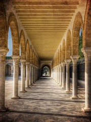 Tunisian Arches (Barry O Carroll Photography) Tags: arch arches architecture islamic northafrica monastir tunisia mausoleum tomb habibbourguiba perspective symmetry symmetrical travel corridor vanishingpoint person depth maghreb