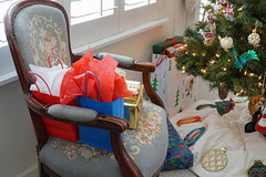 my grandmother's chair at Christmastime (gagasue) Tags: needlepoint chair antique