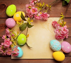 easter background (minhtantintin) Tags: frame emptycard copyspace greetingcard bunch easterbackground colorful decoration easter egg flower holiday nest seasonal spring time traditional april background easteregg green happyeaster painted symbol eastercard table vintage