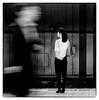 Attendre. (mildiou2) Tags: station train black white women ghost quai urbain japan japon work jupe talon beton chemise