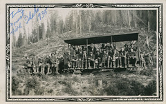Going to Forest Fire, Civilian Conservation Corps, Camp Black Bear, 1935 - Headquarters, Idaho (Shook Photos) Tags: photograph photographs photo photos civlianconservationcorps ccc campblackbear camps262 company1647 headquartersidaho headquarters idaho clearwatercounty northfork clearwaterriver firefighting rail railway railcar transportation firefighters firefighter forestfire