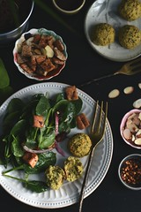 Spinach Salad + Baked Falafel (Lan | MoreStomachBlog) Tags: vegan middleeastern jerusalem cookbook spinach chickpeas falafel baked salad dates pita