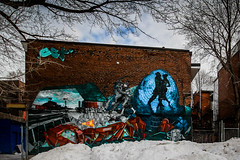 dancers in the snow (Eileen NDG) Tags: january montreal plateau sreetart winter snow mural dancers