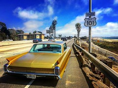 Caddy on the coast (El Cheech) Tags: pacificocean palmtrees clouds sky rumblerscc lowrider hotrodhooligans rumblerslosangeles rumblersla rumblerscarclub rumblers coastal 101freeway cad chevy generalmotors gm 1962 gold interstate freeway beach ventura southerncalifornia socal coast 101 caddy cadillac