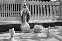 Snow Mary (Violentz) Tags: virginmarystatue statue virginmary snow winter cold bw patricklentzphotography