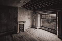 The Old Place (Mister Oy) Tags: davegreen oyphotos ©oyphotos haighhall sepia mono monochrome blackandwhite fujixpro2 fuji1024mm old wigan window light empty urbex fireplace hearth rafters