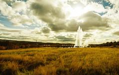 Strokkur (joshuadavidreid) Tags: strokkur geothermal geysir crowd clouds field
