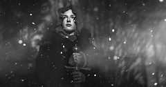 midnight in the garden with ghosts ([ I w a n ]) Tags: warrior snow winter monochrome fantasy gothic girl forest canon7d photoshop creativecloud