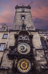 Clock Tower (Jon and Sian Bishop) Tags: clock tower prague square czechia europe central time piece vanishing point leading line jon bishop photography outdoor vertical stone old history mystery sky awe hue mystical photoshop church composite canon eos6d 6d eos