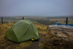 Spent all day today in the tent due to sleet, rain and snow.