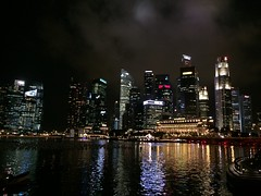 Downtown Singapore at night