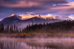 Light On The Mountain (chasingthelight10) Tags: travel mist canada photography landscapes events places things banffnationalpark canadianrockies vermilionlake