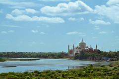 view over river Yamuna to the Taj Mahal (jaypchances) Tags: travel blue india green river landscape reisen flat minaret taj mahal tajmahal agra exotic islamic reizen yamuna reisfoto