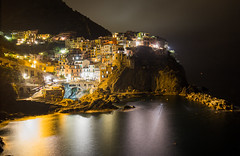 Riomaggiore at night (NicVW) Tags: longexposure travel houses sea italy reflection water night wonderful dark landscape lights evening town scenery holidays colorful europe mediterranean village view bright five gorgeous liguria illumination nobody illuminated hills terre lamps cinque riomaggiore