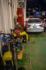 Our bikes all loaded up on the ferry.