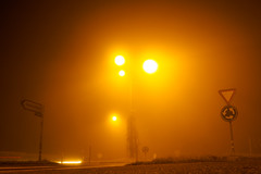 290/365: Street Lamps of the Third Kind (haslo) Tags: cars fog schweiz switzerland roundabout olympus roadsigns roads thick omd em1 ostermundigen project365 115in2015