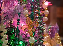 Fleur de Lis on the Tree (BKHagar *Kim*) Tags: christmas tree green gold beads swan purple mask jester fleurdelis bkhagar