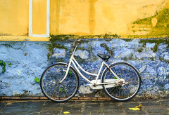 Bicycle against the wall of old house (phuong.sg@gmail.com) Tags: antique backgrounds basket bicycle black broken city color concrete copy cycle damaged day dirty horizontal house image italian leaning life mode nobody object obsolete old orange parking red retro revival scene single space stained stationary town transport travel tuscany urban vertical wall wheel yellow