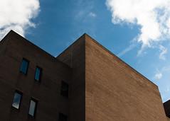 Southbank London Brick Building. (ADaveInTheLife) Tags: architecture london contrast bricks symmetry leadinglines nikon nikond90 city cityscape cityscapes architectural blue sky clouds